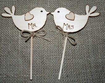 Bird Cake Topper Mr & Mrs Rustic Wedding Wooden Customizable