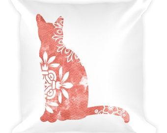 Watercolor Mandala Accent Pillow   18x18 Square Pillow   Cat   Coral
