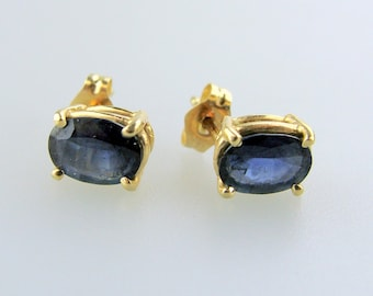 14K Yellow Gold Oval Sapphire Studs
