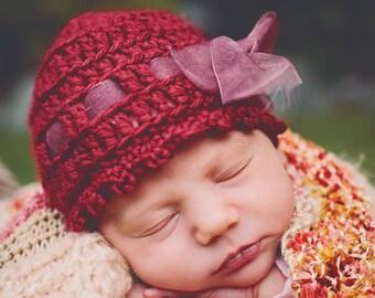 Baby Crochet Hat Pattern: 'Wintertime Love', Crochet Cloche