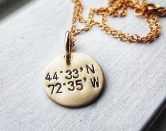 Gold Latitude Longitude Necklace - Latitude Longitude Neckalce - Coordinates Necklace Gold - Latitude Longitude Necklace For Mom -