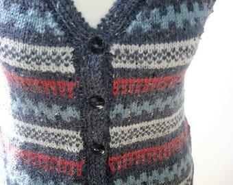 His/Her hand knitted Fair Isle design waistcoat/vest in 20% alpaca