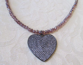 Crystal Beaded Necklace with Heart Pendant