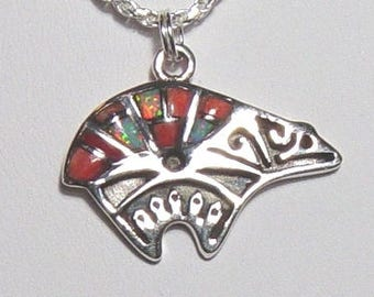 Bear jewelry, Bear jewelry with Opal and Coral Inlay, Sterling Silver Bear jewelry On Sale Now 50% OFF