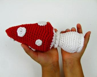 Baby rattle, toadstool baby rattle, crochet baby rattle, crochet toadstool rattle