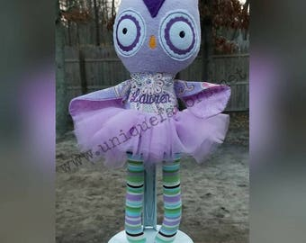 """Handmade Owl Doll 18.5"""" or 15"""" with or without Tutu! Boy and Girl versions available! Each is unique, one of a kind! Fully washable!"""