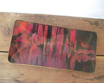 mcm, vintage 1970s Seetusee Glassware Tray - hand painted black and red - glass & leather