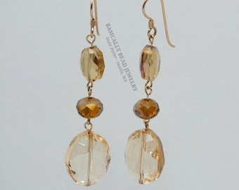 """These 3"""" three bead hand chained earrings are made with golden topaz sparkly glass ovals and rondelle shpaed beads on 14K GF Earwires"""