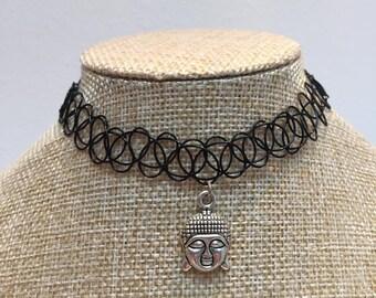 Tattoo black charm Buddha necklace jewelry
