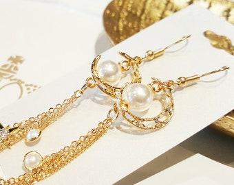 Authentic Handmade Jewelry Pearl Long Drop earrings Nickel Free post Brass Moon pendant best gift for women mother wife girlfriend