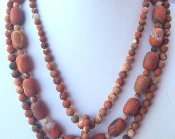 Matte Red Jasper Beaded Necklace