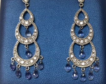 18k Diamond Teardrop white gold Earrings with 7 ct Blue Briolette Sapphires and 1ct Diamonds