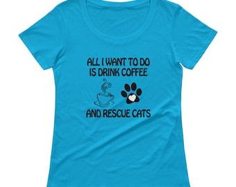 Coffee & Rescue Cats Ladies' Scoopneck T-Shirt