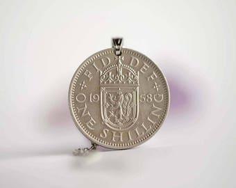 UK Coin Necklace. One Shilling, 1958. Elizabeth II