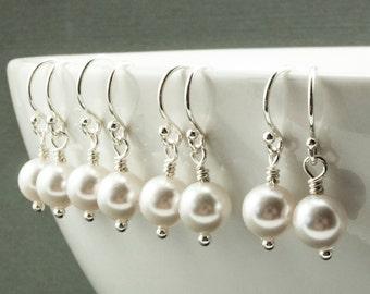 Small Pearl Earrings. White Swarovski Crystal Pearls. Simple Pearl Drop Earrings. Wedding Jewelry Gift. Sterling Silver Wedding Earrings