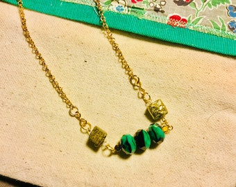 Green Czech glass black green beads gold chain pyrite nuggets beaded necklace rondelles