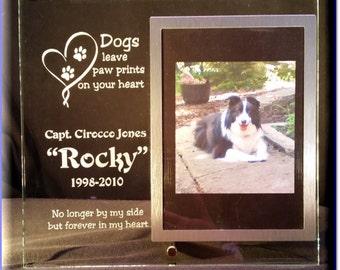 Dog Memorial Frame, Pet Memorial Frame, Personalized Glass Frame