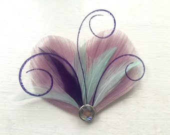 RÊVER en violet lavande, la menthe et Dark Purple paon pince à cheveux plume, plume de bibi