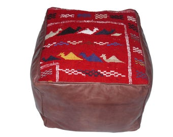 Oriental seat cushion in leather/kilim 45 x 45 x 40 cm, without filling
