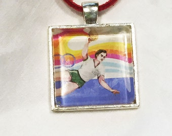 Vintage Olympic Sport cancelled postage stamp necklace