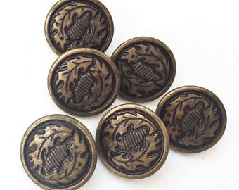 eco friendly antiqued brassy gold tone leaf design shank buttons--matching lot of 6