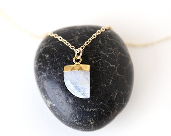 Modern Moonstone Curved Point Necklace // 14K Gold Filled // simple everyday modern bridal jewelry