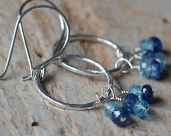 Silver Hoop Earrings Hammered and Textured Artisan Shiny Dangle Hoop Earrings Blue Sapphire and Blue Apatite Beaded Gemstone Jewelry