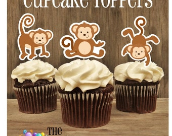 Monkey Birthday Party - Set of 12 Double Sided Assorted Monkey Trio Cupcake Toppers by The Birthday House