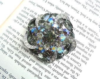 "Gorgeous Black Diamond and Aurora Borealis Layered Vintage Large Brooch - 2 1/4"" Wide - Estate Jewelry - Juliana Style"