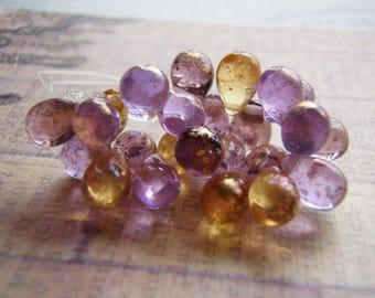 Venetian Gold Teardrop Beads Top Drilled 10 Beads