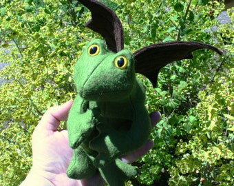 READY TO SHIP! The Mossy Glen Flying Frog, Scented Beanbag Frog, Wool Felt ~ Stuffed with Flax Seeds and Organic Herbs, Natural Frog Toy
