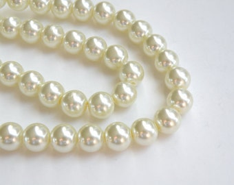 lot of 350  Vintage IVORY Glass 8mm Pearl Beads