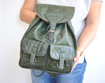 Vintage LEATHER BACKPACK , women's leather bag..............(598)