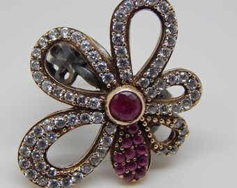 Ruby Sterling Ring,Ring,Sterling Silver Ring,Silver,Ruby Ring,Created  Ruby,Red Stone,July Birthstone,Birthstone Ring, Seamaidenjewelry.