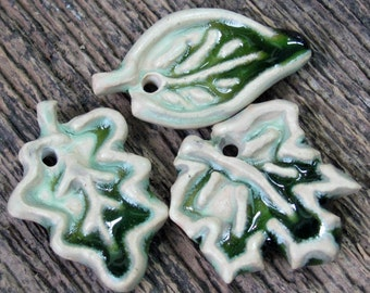 Leaf Components, jewelry Components, Handmade Leaves, Ceramic Leaves, Green Leaves, Clay Leaves, Earring Components, Leaves, Green Pendants