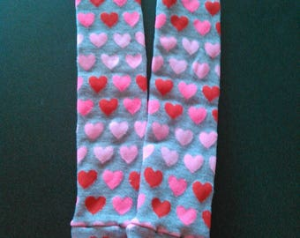 Gray Pink and Red Heart Leg and Arm Warmers