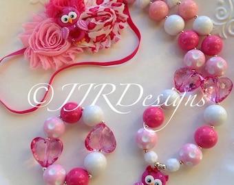 Lovebird Girl Necklace- Valentines Chunky Necklace- Bubble Gum Necklace- Lovebird Owl Necklace- Owl Necklace