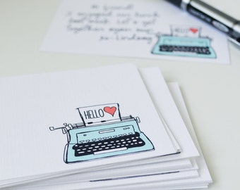 CHOOSE your color Set of 24 Typewriter Mini Cards, Illustration, Hello Mini Note Cards, Note cards, 2.75 x 4.25 inches