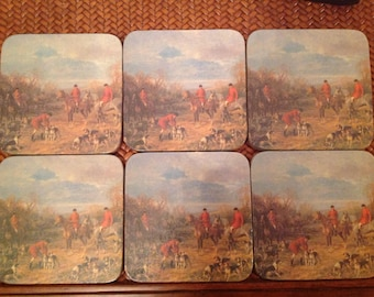 Vintage Cork Backed Fox Hunt Coasters
