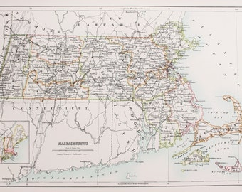 Large 1897 Blacks Antique Map, Colour Map, United States (USA) State & County Map, Massachusetts