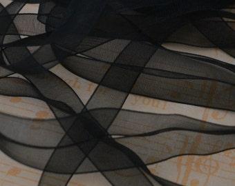 Sheer Organza Ribbon 10mm 3/8 x 5 metres Black Onyx