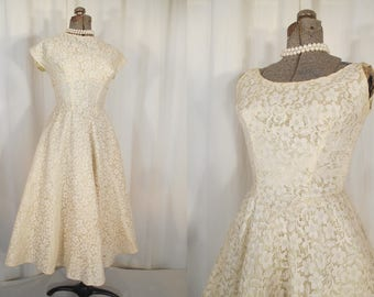 Vintage 1950s Dress | Wedding Dress | 50s Chartreuse and White Lace Prom Formal