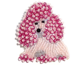 Pale Pink Delica Beaded TOY POODLE keepsake pin pendant  (Ready to ship)