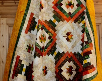 """Quilt Pattern , Autumn Leaves , Log Cabin Quilt , Courthouse Steps , twin size: 71"""" x 92 - PDF pattern"""