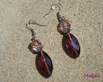 Earrings pink and plum, pink and purple Crystal beads, wedding