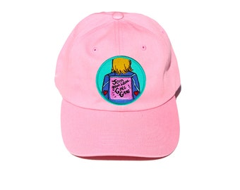 Feminist Girl Power Pink Embroidered Hat - Join Your Local Girl Gang Embroidered Baseball Cap, Feminism, Girl Power