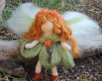 Forest Bendy Fairy -   Needle felted soft sculpture - Waldorf Inspired by Rebecca Varon