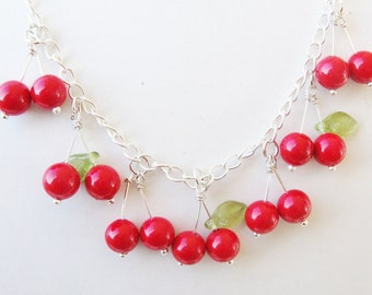 cherry necklace -  rockabilly necklace - vintage tattoo - sailor jerry - polka dot - housewife - 1950s