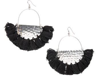 CLEARANCE SALE Black Silver earrings,Half moon earrings-Black Tassel earrings,-fringe earring-Boho earring-Bohemian Gypsy jewelry-Coachella