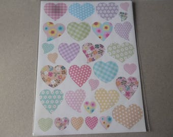 Multicolor heart patterned shape x stickers 1 sheet of stickers
